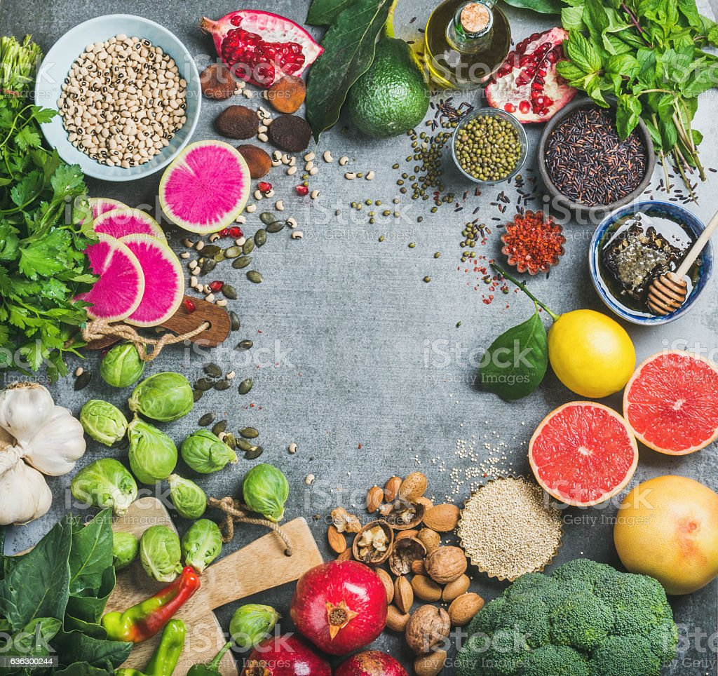 Variety of vegetables, fruit, seeds, cereals, beans, spices, superfoods, herbs - Photo