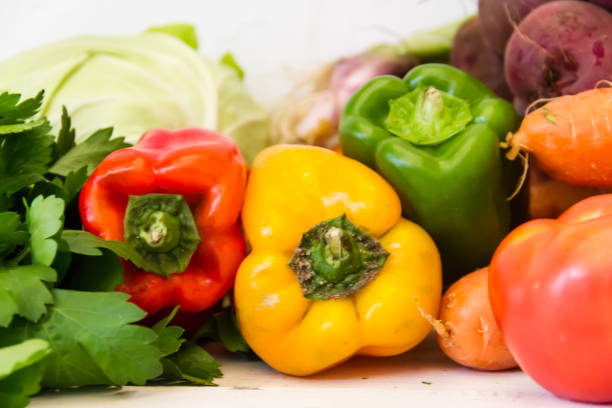 variety of vegetables grown in the organic garden stock photo