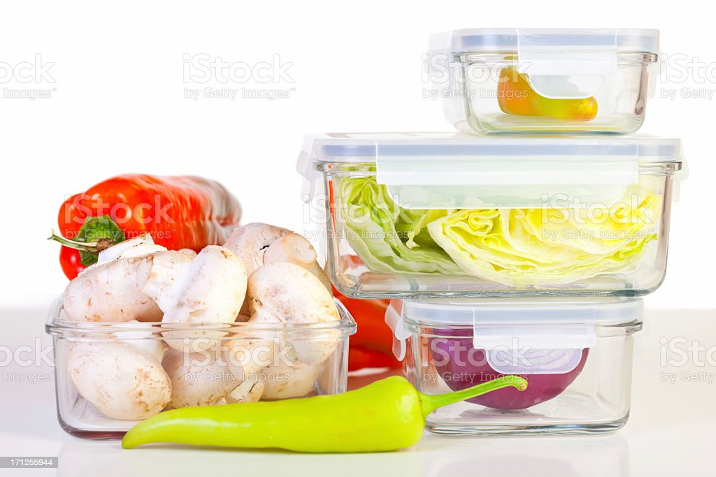 A variety of vegetables in reusable glass containers  stock photo