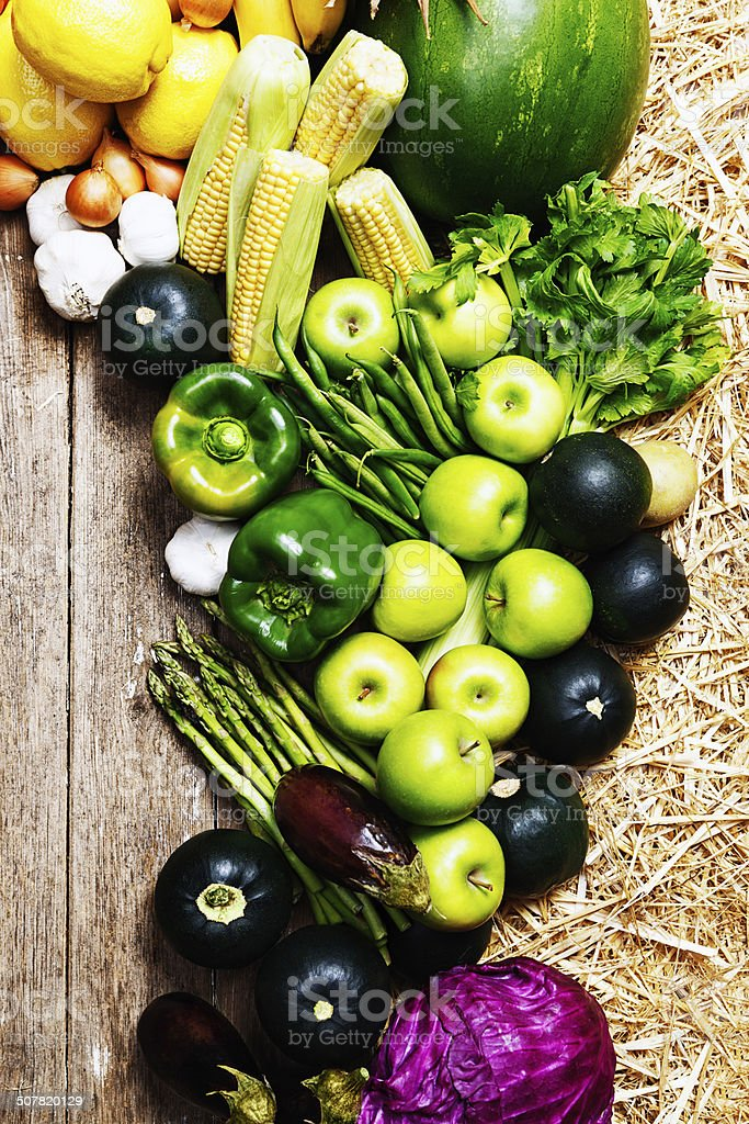 Variety of vegetables in ribbon shape at farmers market stock photo