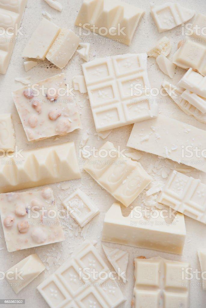 Variety of white chocolate stock photo
