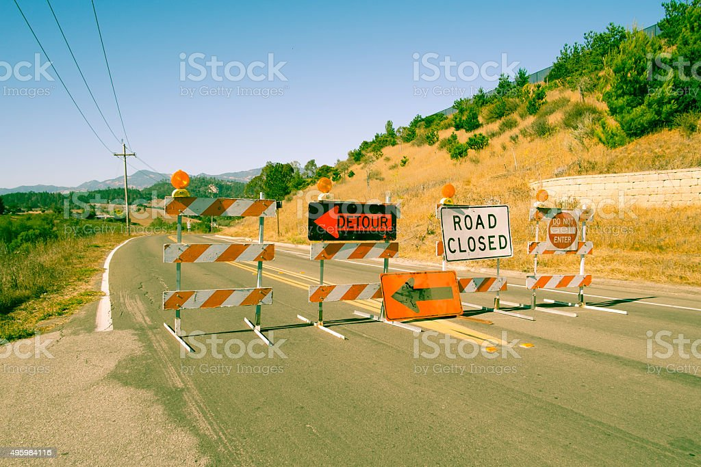 Variour Road Closed signs Detour Road Closed and No Entry Signs on Highway in California 2015 Stock Photo