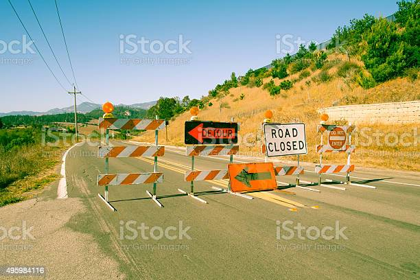 Variour Road Closed Signs Stock Photo - Download Image Now