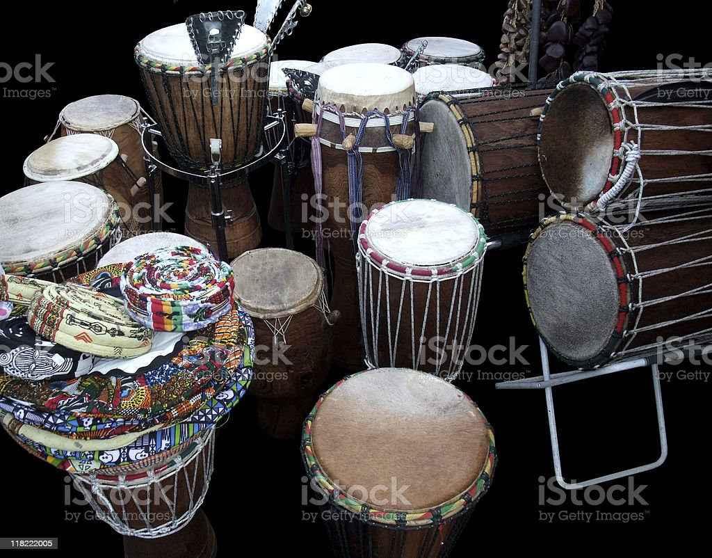 various african drums stock photo