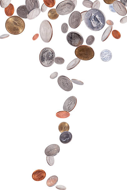Various American coins falling stock photo