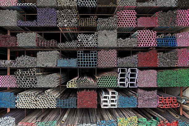 Various angle iron profiles and steel rods. stock photo
