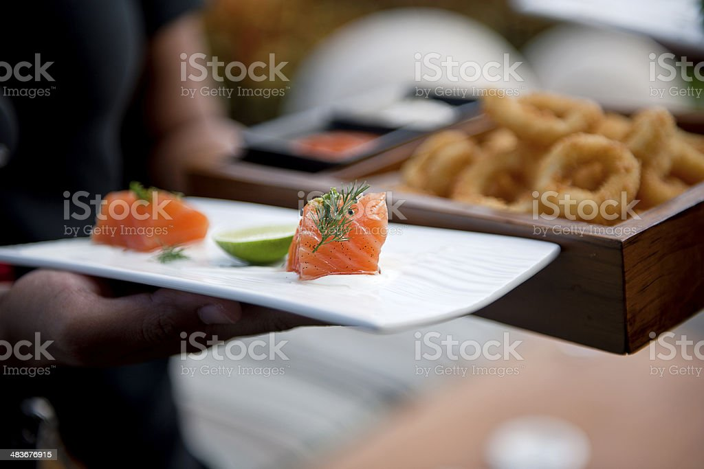 Various Appetizers on plates royalty-free stock photo