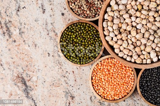 Various assortment of legumes - beans, chickpeas, lentils, black  and green orid dal. Vegetable proteins. Protein products for vegans. Healthy eating concept. Indian food. Indian style. Top view.