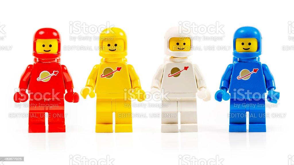 Various astronaut lego mini figures isolated on white. stock photo
