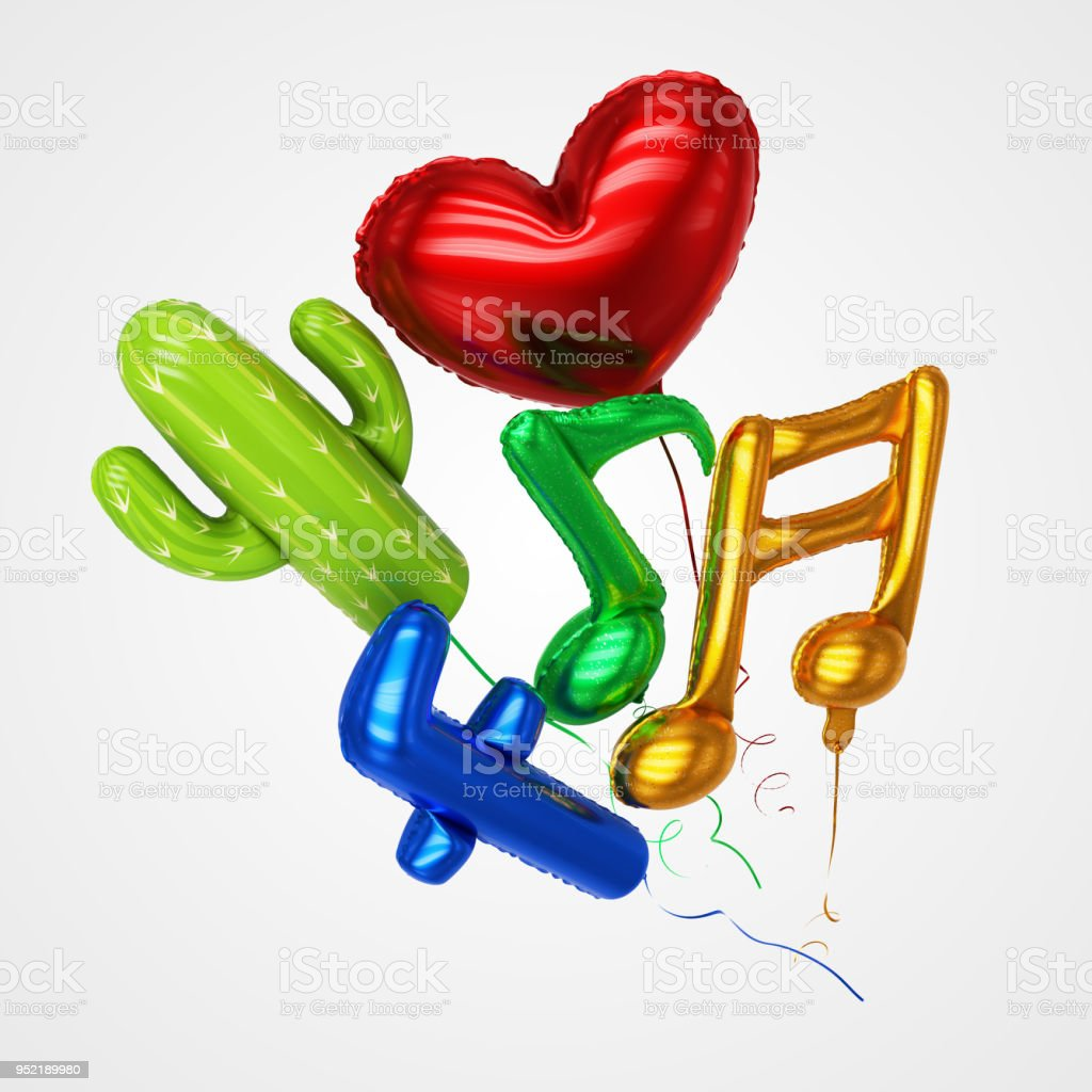 Various balloons floating - Stock Image stock photo