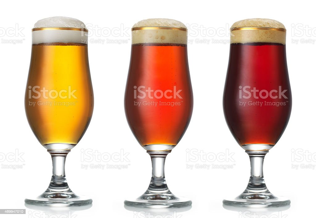 various beer glasses stock photo