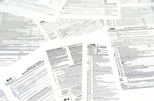 various blank USA tax forms stock photo