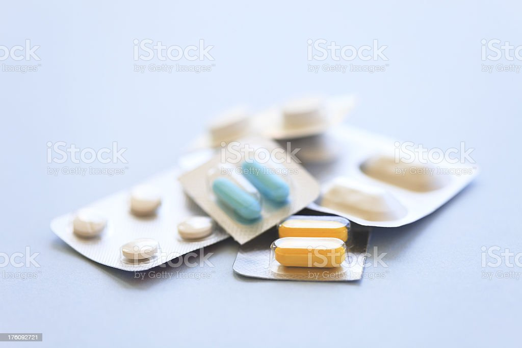 Various blisterpacks with pills royalty-free stock photo