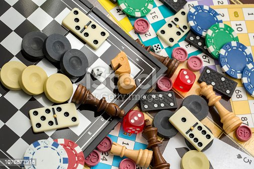 Various board games, leisure, hobby. Background games.