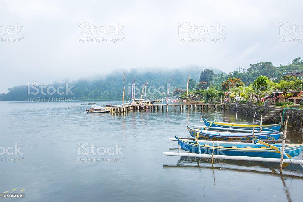 Various boat services at Pura Ulun Danu Bratan, bali, indonesia stock photo