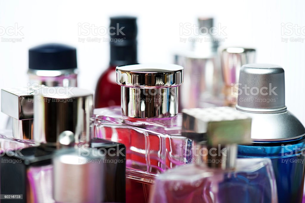 Various bottles of perfume for men and women  stock photo