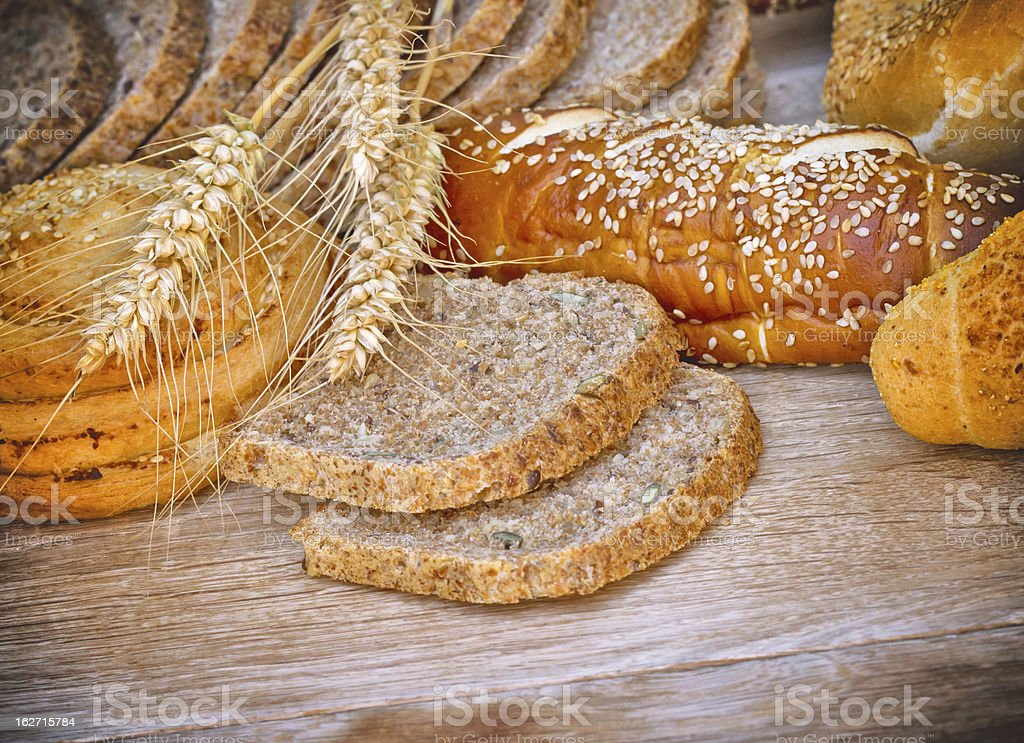 Various bread and pastry on the table royalty-free stock photo