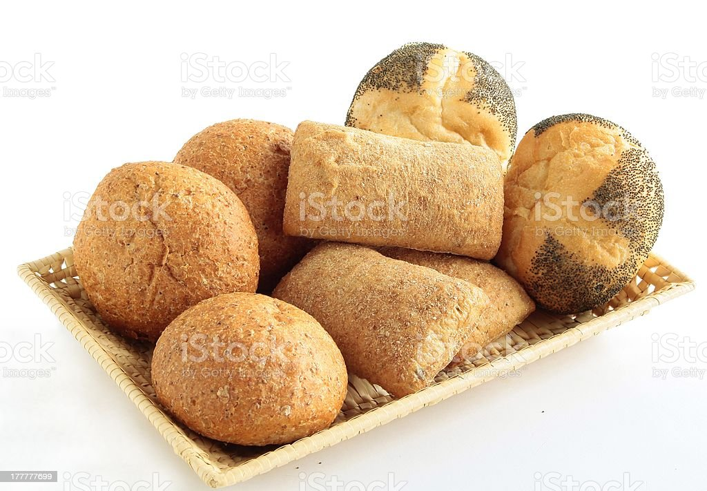 various buns and rolls in basket royalty-free stock photo