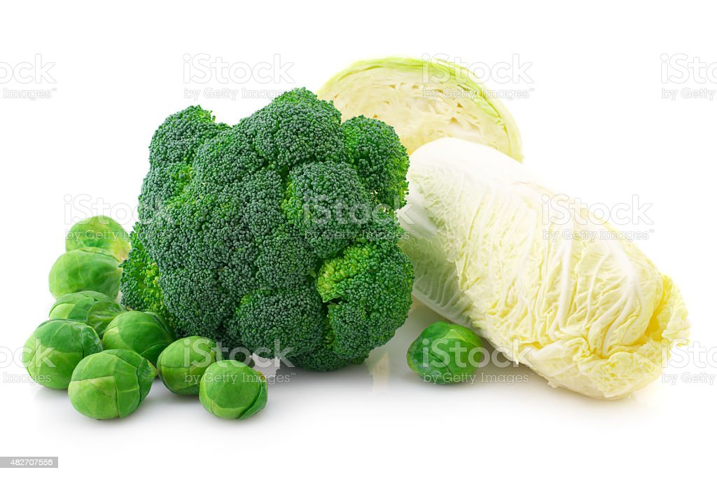 Various cabbage on white stock photo