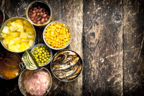 각종 통조림 야채, 고기, 생선, 과일 깡통에. - 통조림 식품 뉴스 사진 이미지