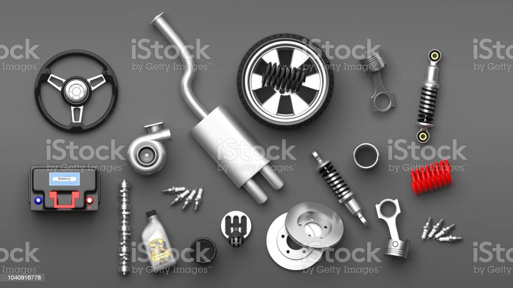 Various Car Parts And Accessories On Grey Background 3d Illustration