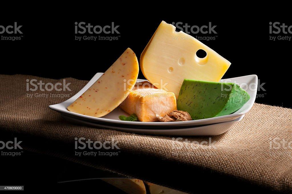 Various cheese sorts. stock photo