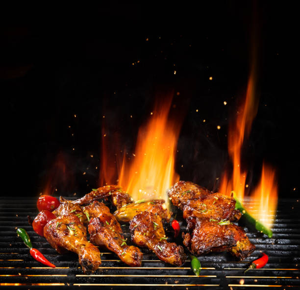 Various chicken meat being grilled, isolated on black stock photo