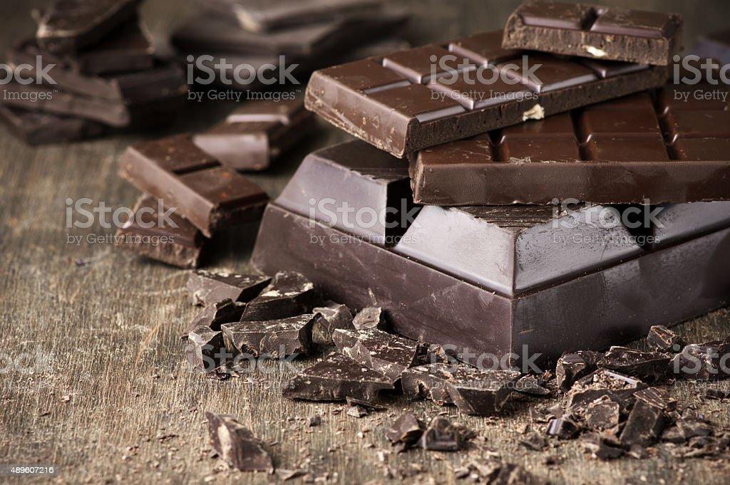 Various chocolate on wood stock photo
