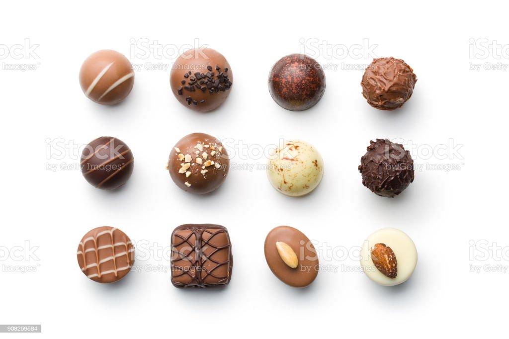 Vários pralines de chocolate - foto de acervo