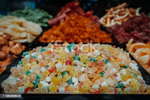 Various choice of nuts and snacks in the market vendor