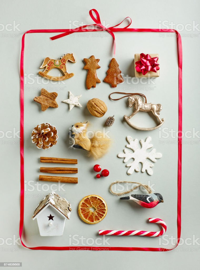 Various Christmas Decorations In Red Ribbon Frame Stock Photo More