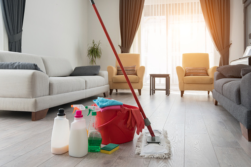Various cleaning products at home.