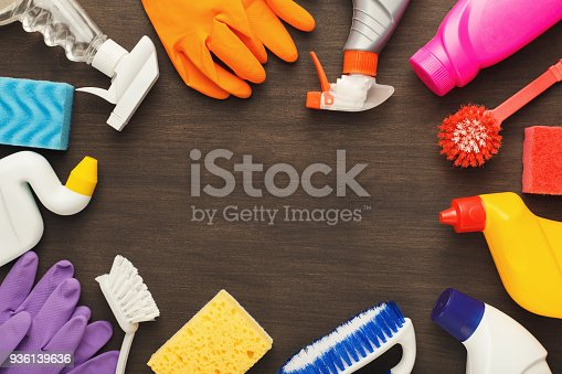 istock Various cleaning supplies, housekeeping background 936139636