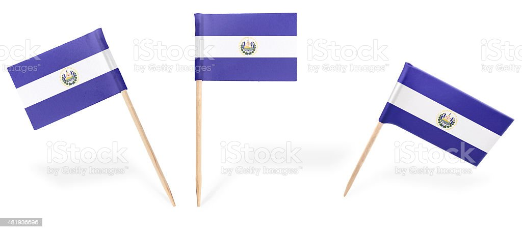 Various cocktail flags of El Salvador isolated on white.(series) stock photo