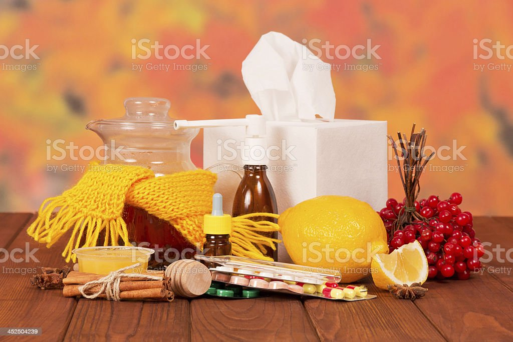 Various cold medicines on a table royalty-free stock photo