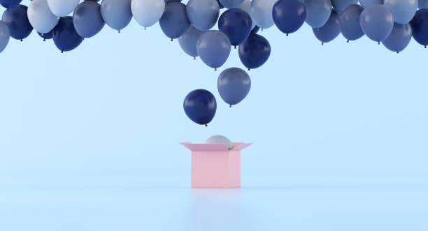 ピンクのオープンボックス、ミニマル、ギフトのアイデア、3dレンダリングから浮かぶ風船の様々な色。 - アイコン プレゼント ストックフォトと画像