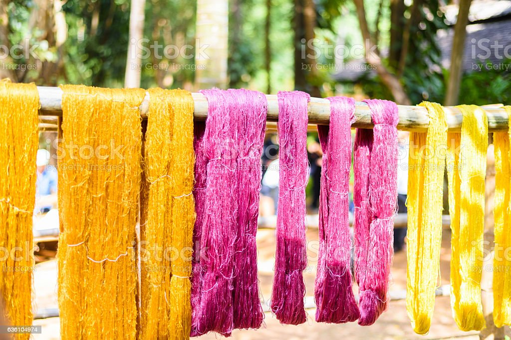 various color silk prepare for weaving stock photo