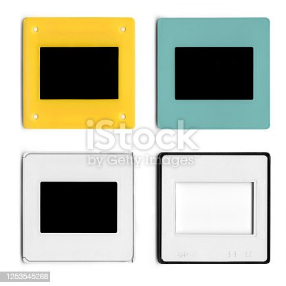 Various colored diapositives on white background, photo slides