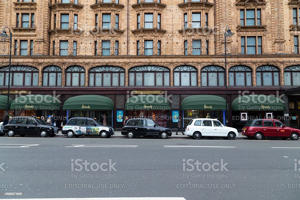 Various Colored Taxi's in London stock photo