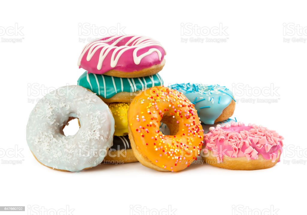 Various colorful donuts stock photo
