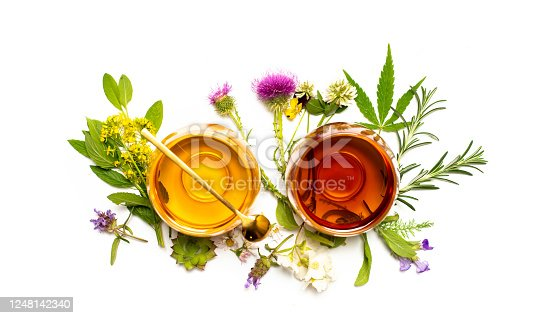 Various colorful herbal tea collection in glass cups on white background isolated