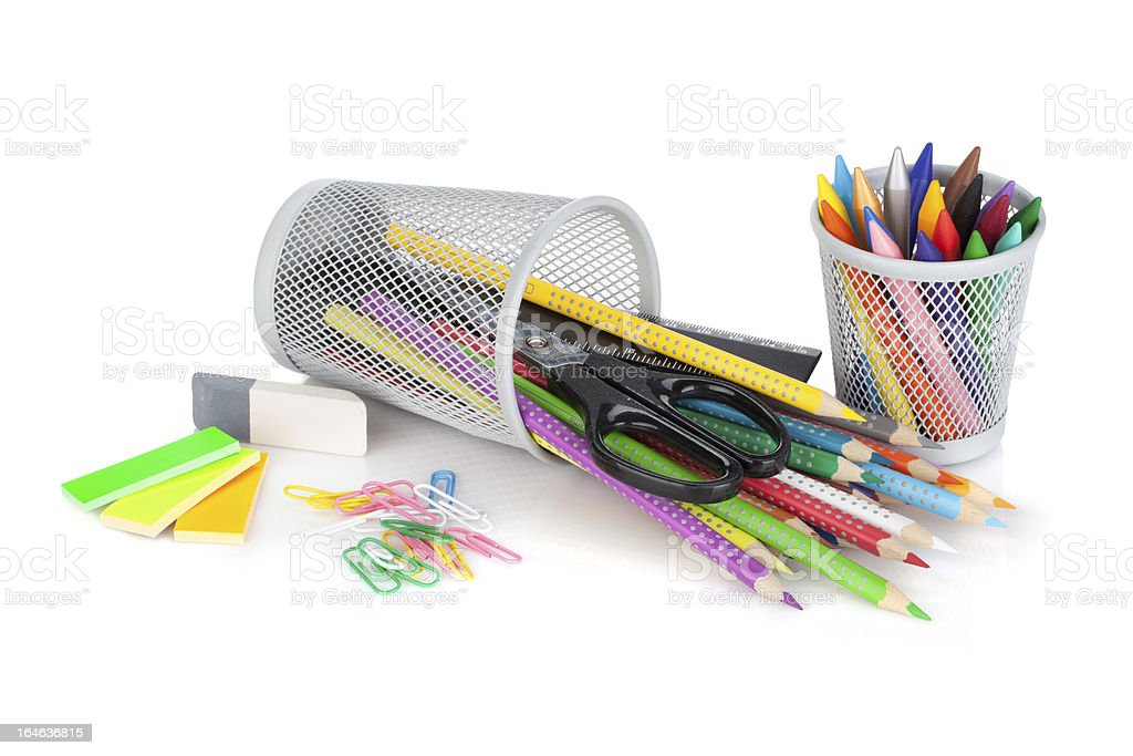 Various colorful pencils and office tools royalty-free stock photo