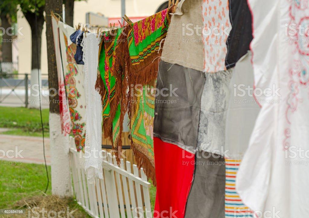 Various colorful shawls stock photo