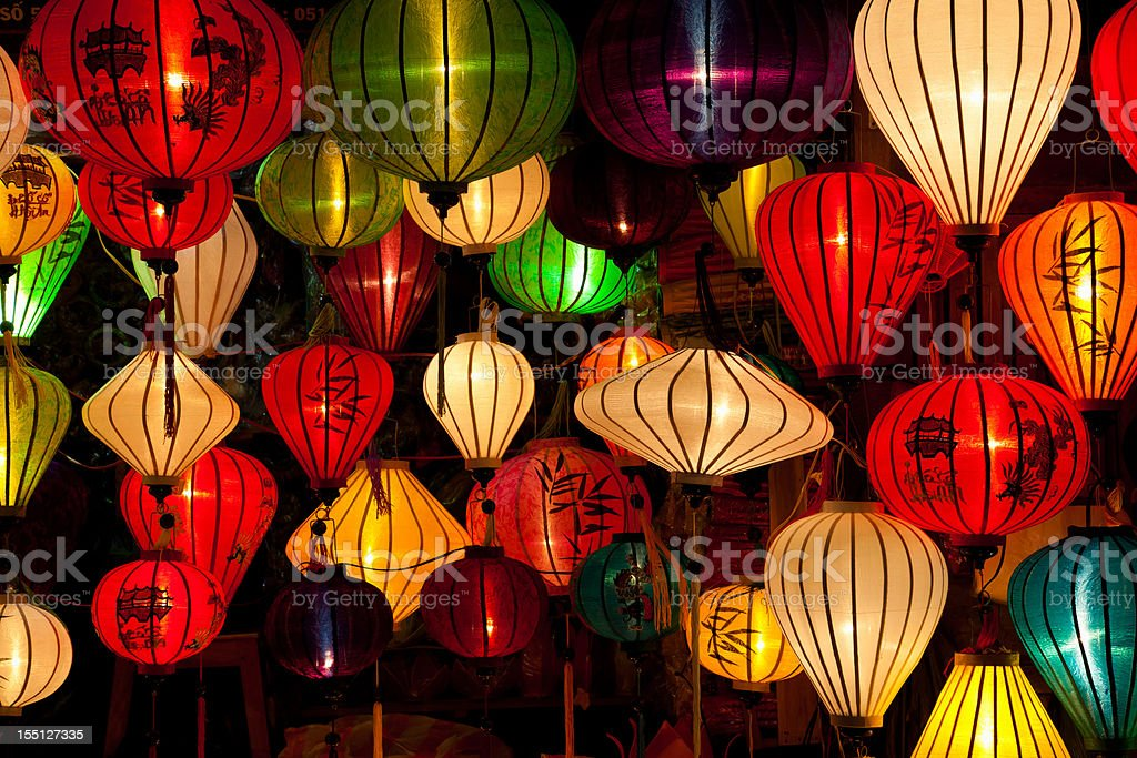 Various, colorful, silk lanterns in Hoi An City, Vietnam royalty-free stock photo