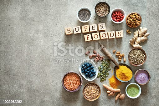 1005962360 istock photo Various colorful superfoods in bowls 1005962282