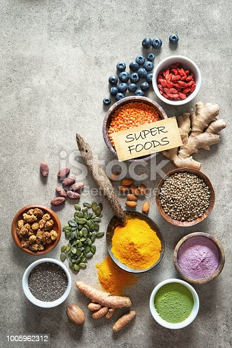 1005962360 istock photo Various colorful superfoods in bowls 1005962312