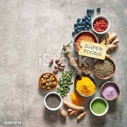 1005962360 istock photo Various colorful superfoods in bowls 1005978704