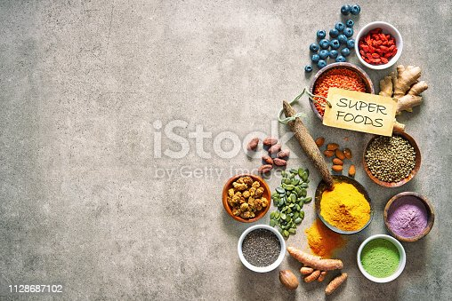 1005962360 istock photo Various colorful superfoods in bowls 1128687102
