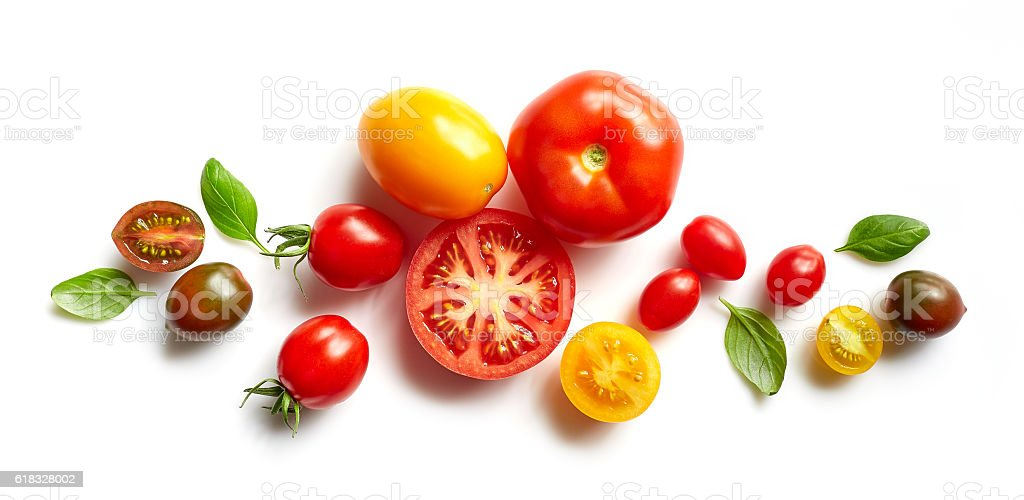 various colorful tomatoes​​​ foto