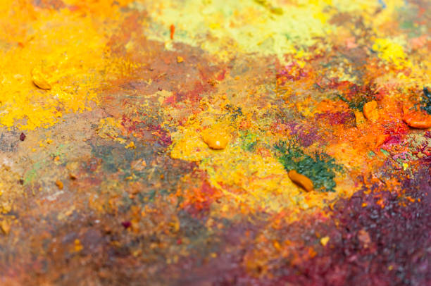 Various colors on a palette stock photo